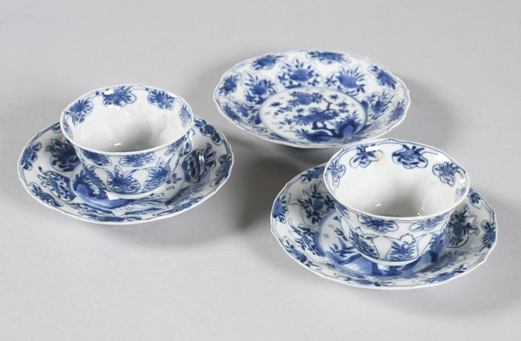 TWO BOWLS AND THREE CHINESE PORCELAIN PLATES