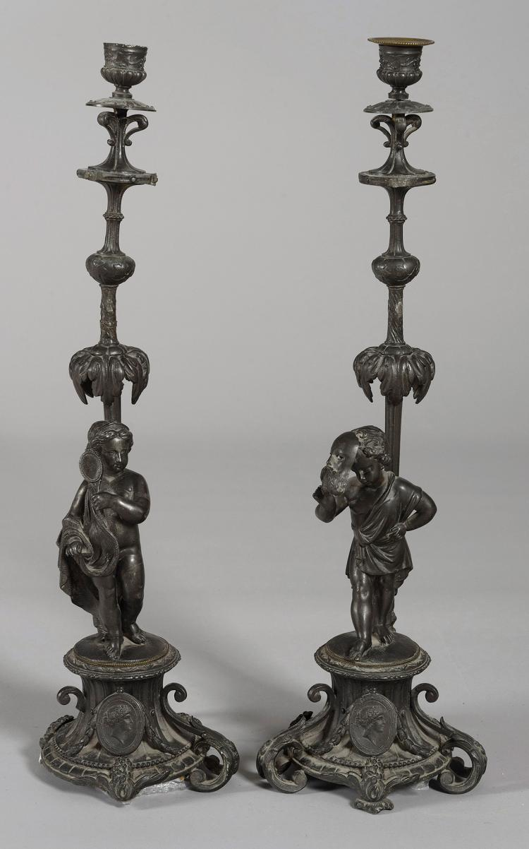 COUPLE OF CHANDELIERS IN CALAMINE, 19th C.