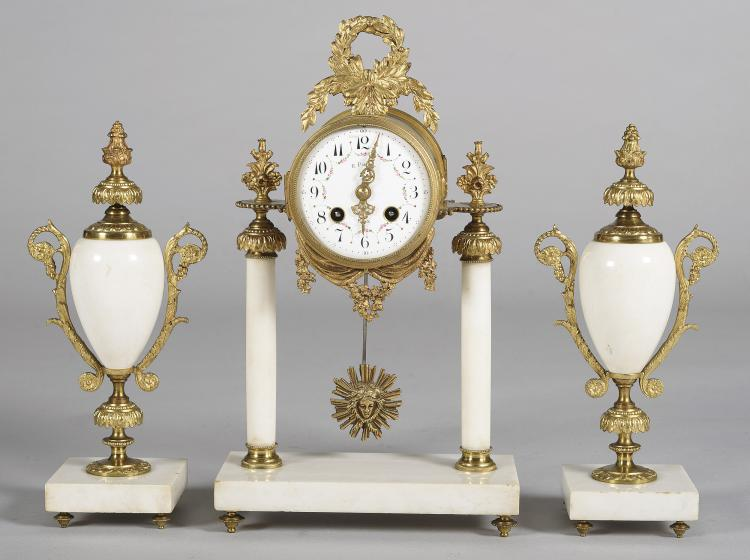 CLOCK AND GARNITURE, FRENCH, FIRST THIR 20th C.