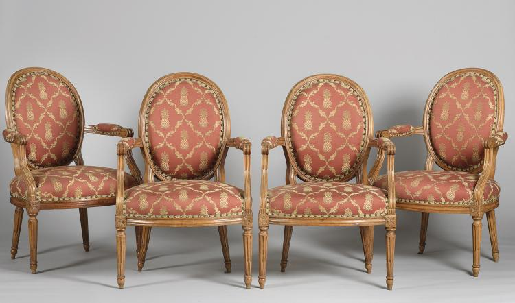 FOUR CHAIRS STYLE LUIS XVI, 19th C.