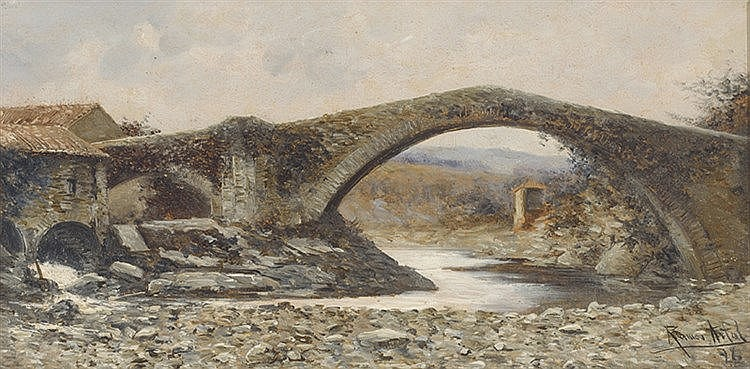 MANUEL RAMOS ARTAL (Madrid, 1855-1916) Landscape with Bridge