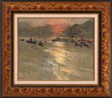 IGNACIO GARCIA ERGUIN (Bilbao, 1934) Ria de Plencia. Anochecer Oleo sobre lienzo de 38 x 46 cm. Firmado. Al dorso, firnado , fechado en 1980 y titulado