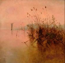 ANDRES LARRAGA (Valtierra 1862-1931) Paisaje Oleo sobre lienzo de 68 x 70 cm. Firmado.