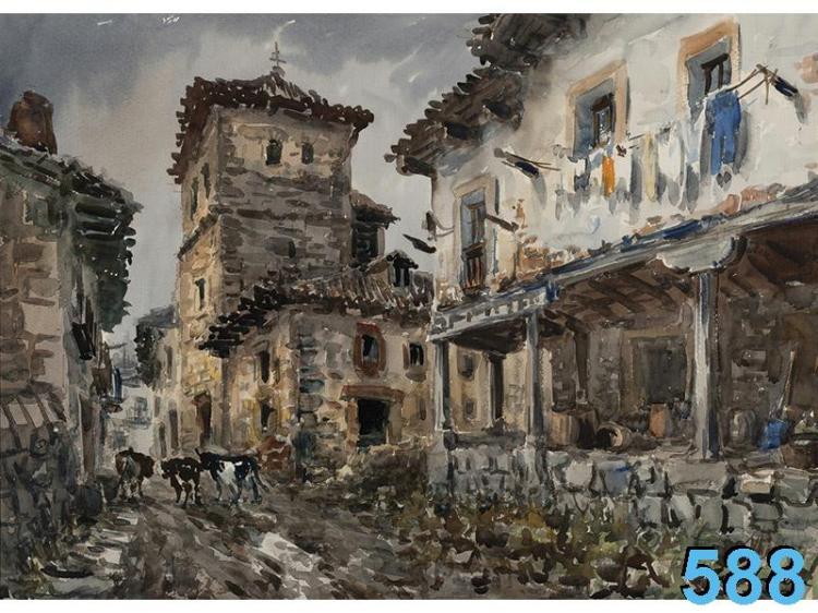 Pueblo. VICENTE PASTOR CALPENA (Alicante 1918 - Madrid 1993)