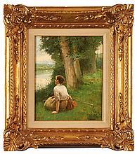 LUIS JIMENEZ ARANDA (Seville, 1845-France 1928) Mujer en el río. Oil on board