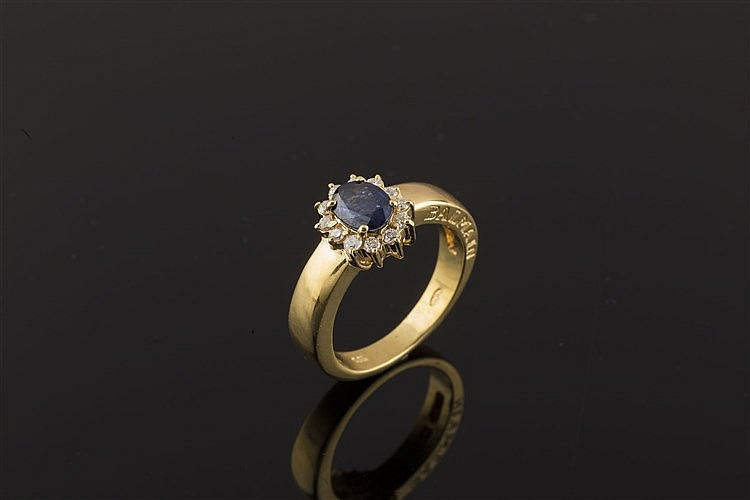 A GOLD, SAPPHIRE AND DIAMOND RING, BY BALMAIN