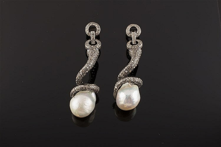 A PAIR OF SILVER, PEARL AND DIAMOND EARRINGS