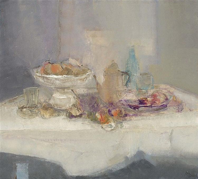 RAMON PUIG BENLLOCH (Valencia, 1929-2015) Composición (9). Bodegón con cafetera purpura