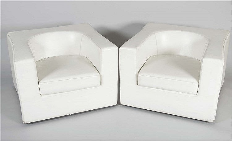 A PAIR OF ITALIAN WHITE ARMCHAIRS