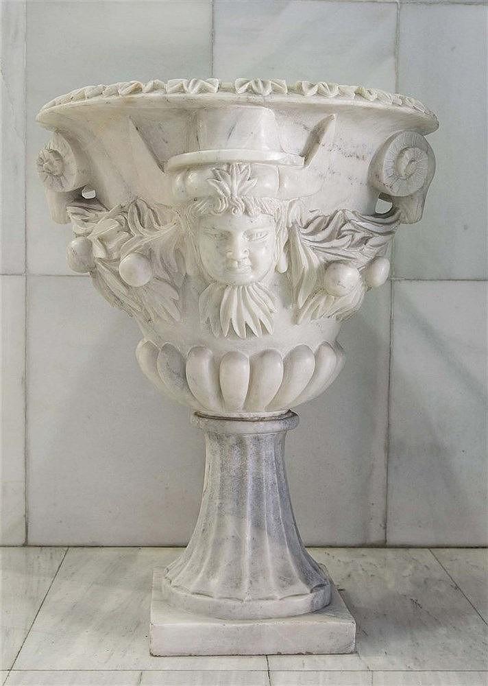 AN ITALIAN WHITE MARBLE JARDINIERE