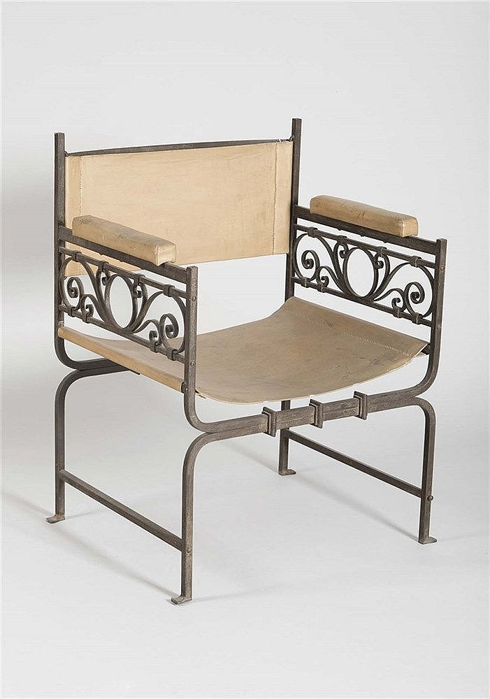 A WROUGHT IRON AND LEATHER ARMCHAIR, CIRCA 1950
