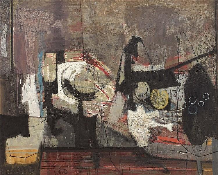 ANTONIO GUIJARRO (Villarubia de los Ojos, 1923-2011) Bodegón abstracto en negros y blancos
