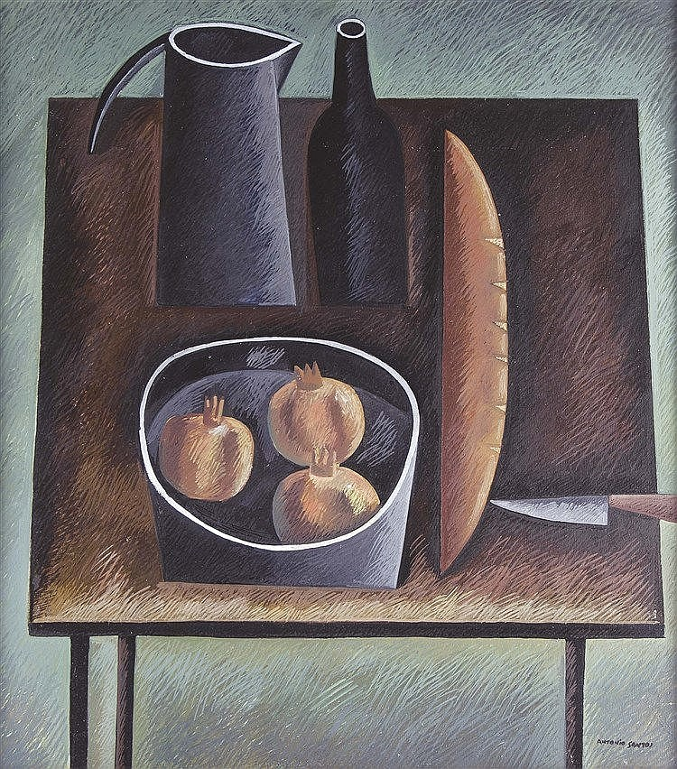 ANTONIO SANTOS (Lupiñén, Huesca, 1955) Still Life with Pomegranates and Bread