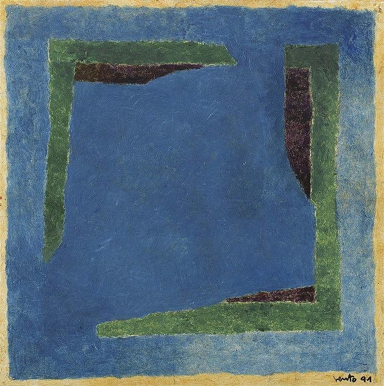 JOSÉ VENTO (Valencia, 1925-Madrid, 2005) Juego, dos azules verde y pardo