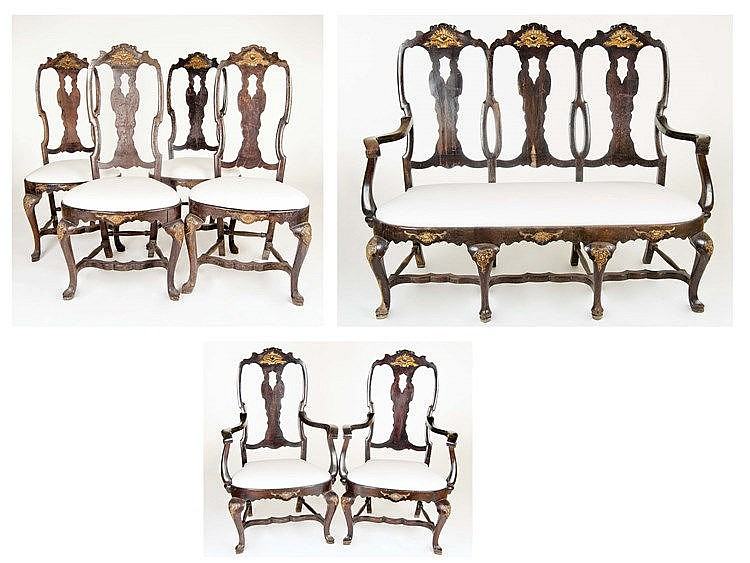 A SET OF PORTUGUESE CHIPPENDALE STYLE CHAIRS, 20TH CENTURY