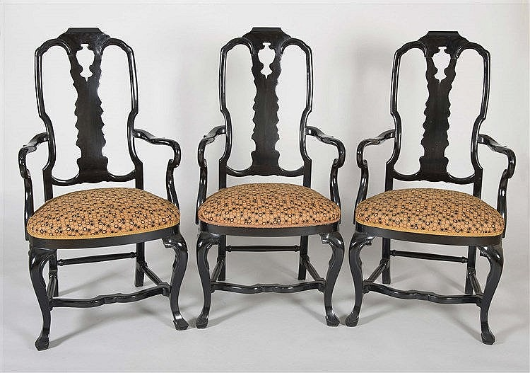 A SET OF SIX CHIPPENDALE STYLE ARMCHAIRS, CIRCA 1950