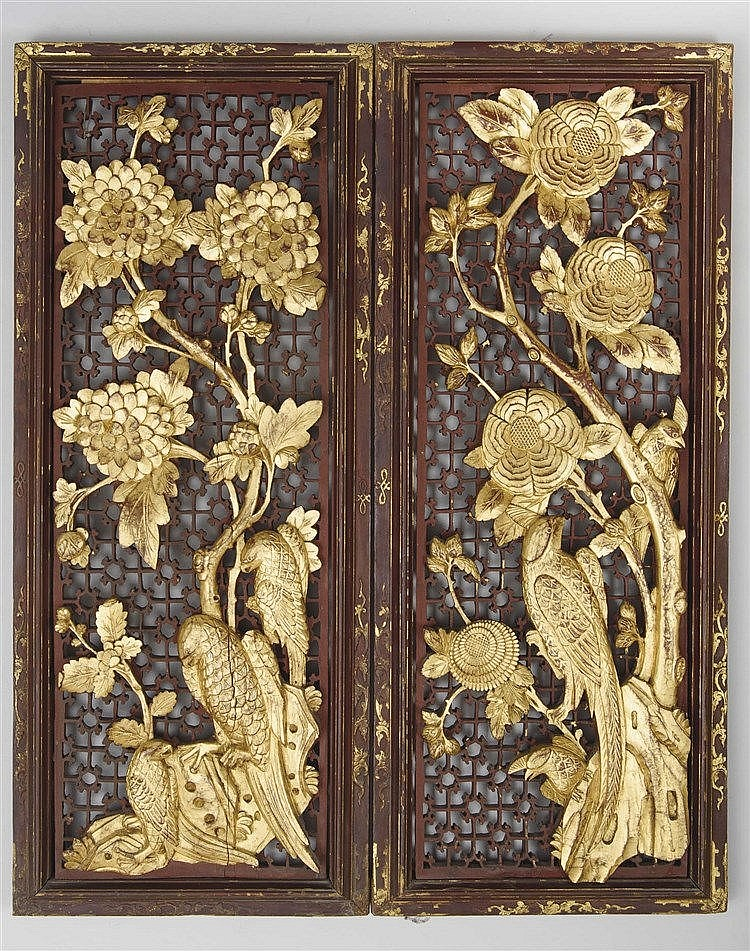 A PAIR OF ORIENTAL PANELS