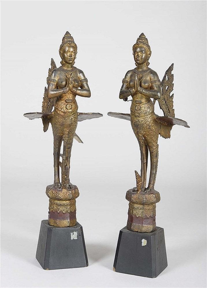 PAIR OF KINARI FIGURES, THAILAND