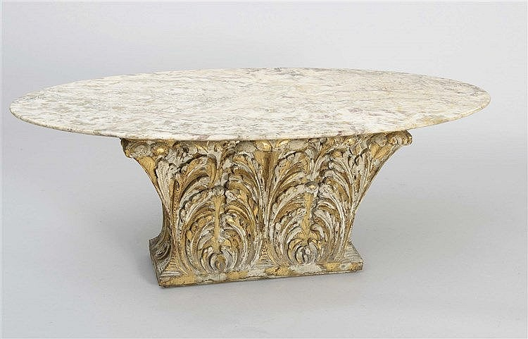 RAFAEL GARCIA DESIGN CARVED WOOD AND MARBLE TABLE, CIRCA 1970