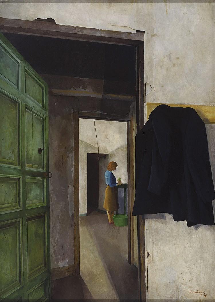 JESUS CAULONGA (Santiago, 1934) Mujer en un interior. Oil on board