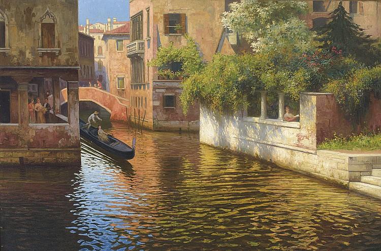 JUÁN JOSÉ GÁRATE (Albalate del Arzobispo, Teruel, 1869 – Madrid, 1939) Canales de Venecia. Oil on canvas