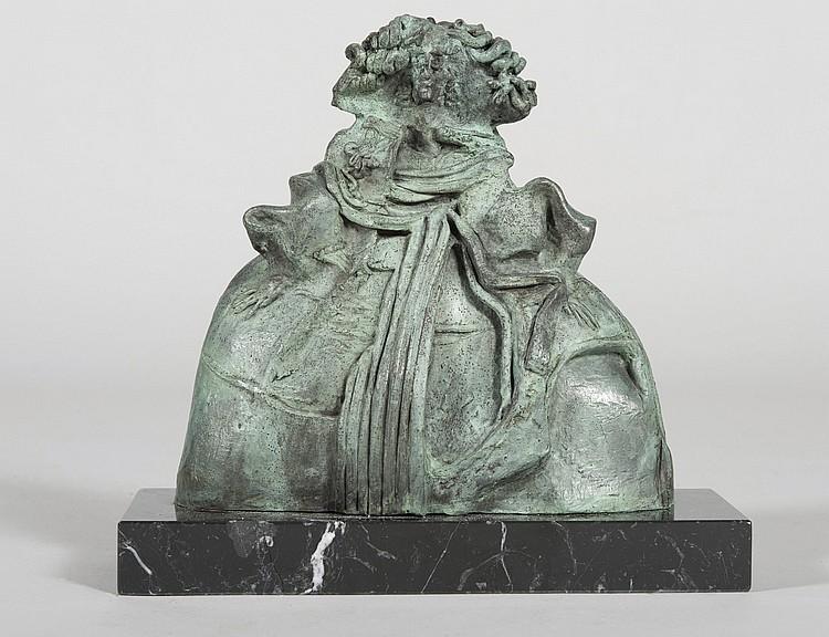 OSCAR ESTRUGA (Vilanova i la Geltrú, 1933) Menina. Bronze figure on marble base