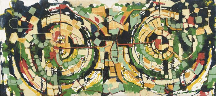 ALEJANDRO ACHE ( Beitchebagb,Líbano,1898) - Abstracción.  Vidrieras de colores [ALEJANDRO ACHE ( Beitchebagb,Lebanon,1898) - Abstraction. Stained-glass windows]