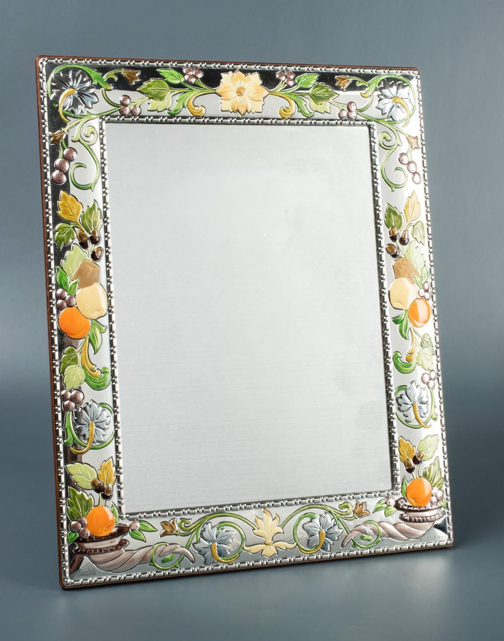 Espejo realizado en plata en su color y esmalte de diversos - Espejos color plata ...