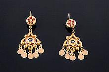 A PAIR OF GOLD AND ENAMEL EARRINGS