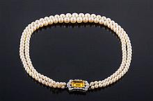 A TWO-STRAND PLATINUM, COLORED GEMSTONE, DIAMOND AND PEARL CHOKER