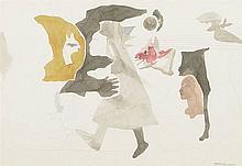 JORGE CASTILLO (Pontevedra, 1933) Personajes de Berlín. Pencil and gouache drawing on paper