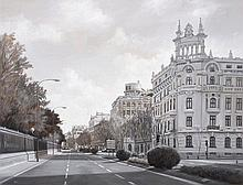 MANUEL TERAN (Santiago de Chile, 1974) Calle Alfonso XII, Madrid. Oil on cardboard