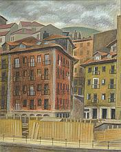 NICOLAS MARTINEZ ORTIZ DE ZARATE (Bilbao, 1907-1991) Fachadas. Wax on paper