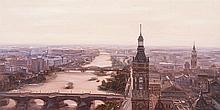 MANUEL TERAN (Santiago de Chile, 1974) Zaragoza desde la torre del Pilar. Oil on fiberboard