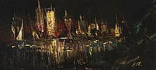 MANUEL VIOLA (Zaragoza, 1916 - San Lorenzo de El Escorial, Madrid, 1987) Miami. Espejo de la noche. Mixed technique on canvas