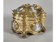 A FRENCH GILT BRONZE AND PORCELAIN BOX