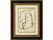 JOAN MIRÓ (Barcelona, ??1893 - Palma de Mallorca, 1983) Personage, 1981. Greasy pencil on paper