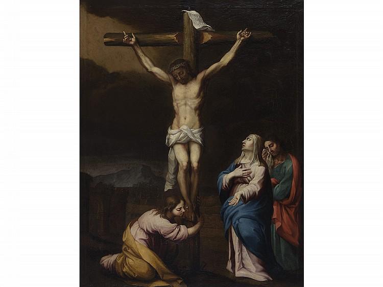 PEDRO DEL POZO (Lucena, Cordoba? -Seville, 1785) Crucifixion. Oil on canvas