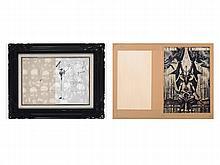 SALVADOR DALÍ (Figueras 1904-1989) Homme debout, 1977. Black felt-tip pen and feather on paper