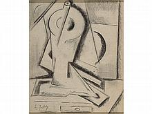 ALFRED JUSTITZ (Czech Republic, 1879-1934) Cubist Still Life. Charcoal on paper