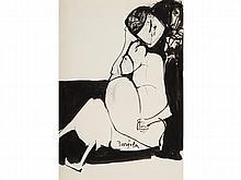 JUAN BARJOLA (Torre de Miguel Sesmero, 1909-Madrid 2004) Woman. Ink on paper