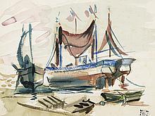 PEDRO FLORES (Murcia, 1897-Paris, 1967) Marine. Watercolor on paper