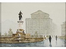 CARLOS IZNAOLA (Madrid, 1926) Plaza de Oriente. Watercolor on paper