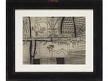 JORGE CASTILLO (Pontevedra, 1933) Figuras y escrito. Graphite on paper