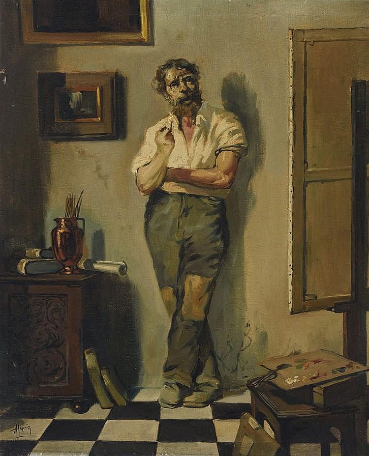 NICOLÁS ALPERIZ (Seville, 1865-1928) El taller del pintor. Oil on canvas