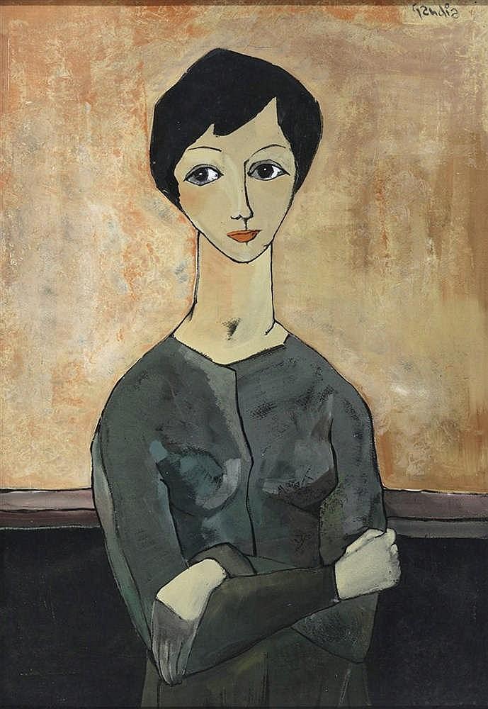 VICENTE GANDIA (1935-2009) Retrato de joven con los brazos cruzados. Gouache on paper