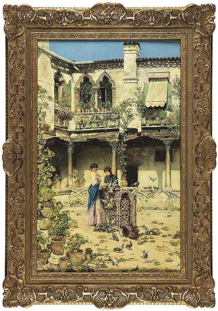 JOSE GALLEGOS Y ARNOSA (Jerez de la Frontera, Cádiz, 1857-Anzio, Italy, 1917) Dando de comer a las palomas. Oil on board