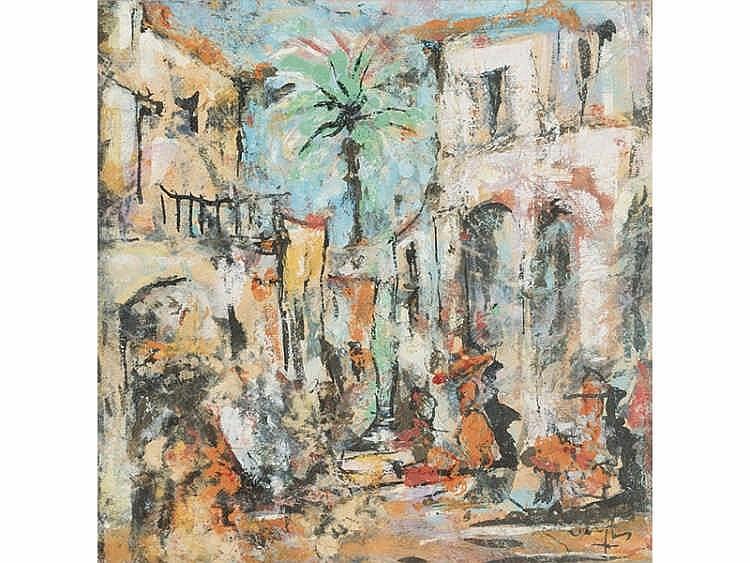 GUILLERMO VARGAS RUIZ Bollullos de la Mitación, Seville 1910- PAISAJE CON PALMERA