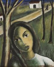 VICTOR MANUEL GARCIA VALDEZ (La Habana, Cuba, 1897-1969) Torso de mujer y paisaje. Oil on canvas.