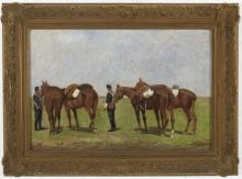 ENRIQUE GOMEZ MARTIN (Seville, last third of the 19th century) Militares a caballo. Oil on canvas.